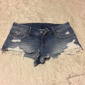 Hollister crochet pocket denim shorts